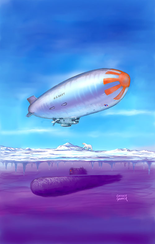 "This is the art for the the DVD ""Airships Fight a Cold War"", a chapter in the Airship History Series. The painting shows a USN type ZPG-2 airship in the 1950s equipped with radar and flying over the ice at the north pole while a Russian nuclear sub hides beneath the frozen stalactites under the ice."
