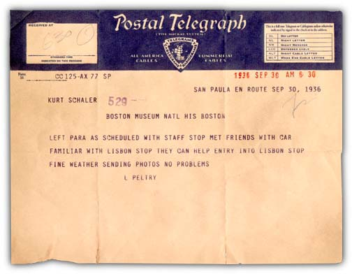 This authentic recreation of a 1936 Postal Telegraph telegram was created using a documented account of the actual content as well as researched examples of Postal Telegraphs of that period. Created for the ongoing project about the history of the Boston Museum of Natural History.