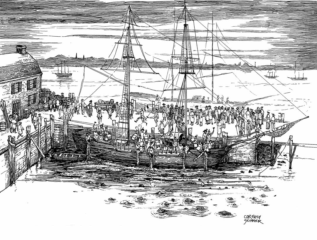 "This pen and ink illustration of the Boston Tea Party was created for Ben Edwards' online project for his book, ""One April in Boston."" If you look closely, you can pick out the action narrated by George Robert Twelve Hewes one of the participants in the action. As Hewes' journal stated: