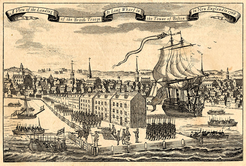 This illustration was created to evoke the look of 18th century woodcuts in portraying the landing of British troops at Long Wharf in Boston in 1768. I used hundreds of individual images taken from period woodcuts and adapted, retouched, assembled and combined them all to construct this view of the event, complete with inconsistent scale and perspective, but showing the Boston skyline and waterfront as it was in that momentous year. If you open the image in a new window, you'll get a larger view.