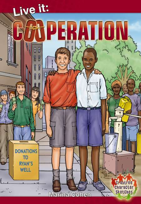 "This is my cover for ""Cooperation"" published by Crabtree Publishing. It's a series of six stories demonstrating how cooperation can enhance life's undertakings. I illustrated six biographies in ""graphic novel"" form, supplying Crabtree Publishing with line art to which they added dialogue, color and then composed the art into pages.