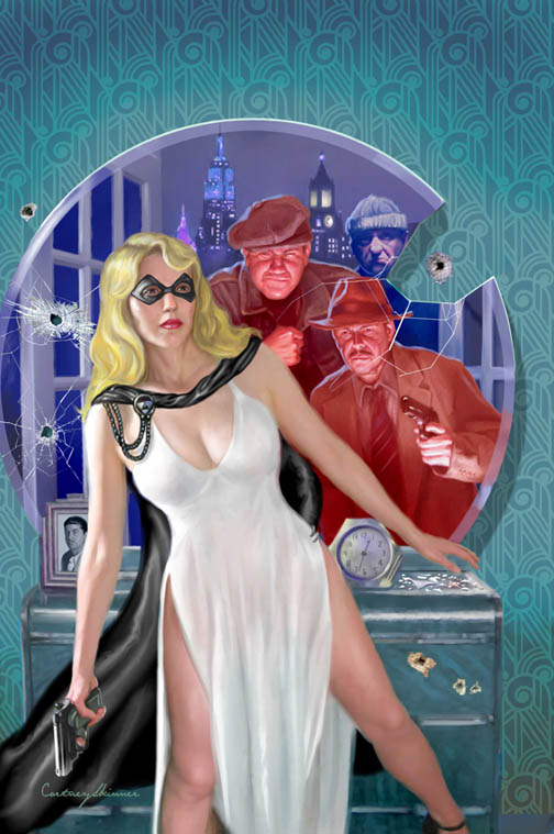 "This is the cover art to Moonstone Books, comic, ""The Domino Lady,""  a masked pulp heroine who first appeared in the May 1936 issue of Saucy Romantic Adventures. The Domino Lady, a Berkeley-educated socialite is armed with a .45 automatic and a syringe full of knockout serum. She wears a domino mask and a diaphanous white dress to fight evildoers. While most illustrations emphasize her ability to pose provocatively, I wanted to show her actually doing something proactive for a change... even as she posed provocatively as per the art director's instructions. As with all my work, I like to make sure all the details of the setting are true to the period being illustrated."