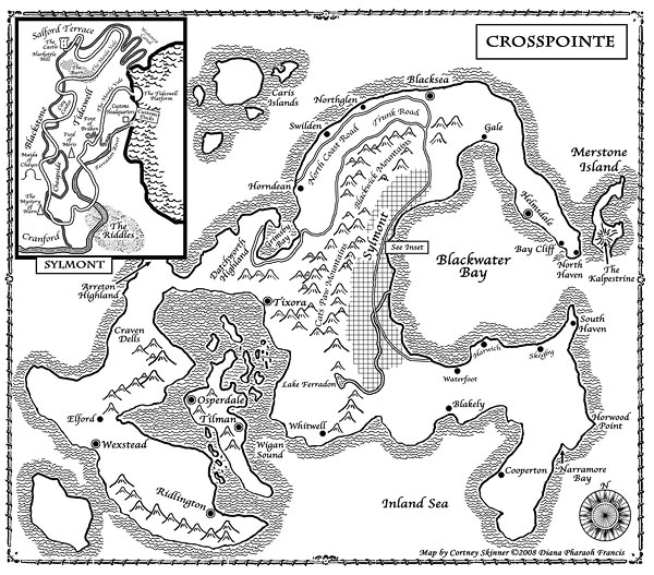 "Commissioned by Roc/Penguin Books and the author, Diana Pharoah Francis, this map shows ""The World of Crosspointe"" a world of ""high-stakes intrigue and adventure."""