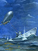 This painting is an accurate portrayal of the only (officially) acknowledged battle between a US Navy airship and a German U-Boat. On July 18, 1943, the US Naval Blimp K-74 attacked and damaged the German U-Boat U-134 off the Florida straits and saved nearby merchant ships from probable sinking. The K-74 was shot down with the loss of its bombardier. The German U-Boat, its diving tanks badly damaged by the K-74's attack, was forced to limp across the Atlantic for its home base. It was discovered, bombed and sunk by allied aircraft 30 days later.