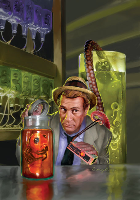 "I painted this cover and some interiors for Moonstone Books' ""Kolchak the Night Stalker Compendium."" To make the portrayal of Kolchak as authentic as possible, I researched the minutia of Darren McGavin's beloved character. I found that folks had already discovered the type of cameras he used. (In this case a miniature Rollei 16mm camera.) There's even a source for buying an identical copy of Carl's trademark straw hat for only $650."
