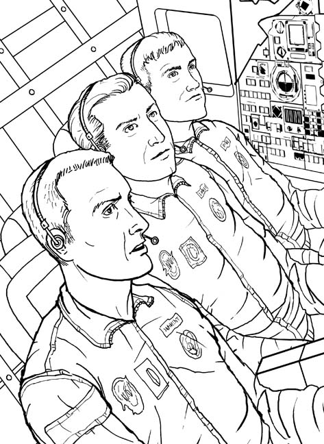 "This illustrated story from ""Cooperation"" about Apollo 13 and Eugene Kranz, NASA Flight Director was very heavily researched. This panel shows Swigert, Lovell and Haise in the Apollo 13 capsule. For one small panel in the story, I needed to find out exactly how the suit/cabin temperature gauge was reading. My friend and amazing author, speaker and space journalist Andy Chaikin connected me to Apollo 13 astronaut Fred Haise to determine how to portray the reading on the gauge. Thank you Andy & Fred... You made this tough assignment a huge and exciting pleasure!... talk about ""Cooperation."""