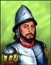 Lucas Vasquez de Ayllon (approx. 1474-1526) - No reference existed for the likeness of this French explorer, but authentic clothing and armor had to be researched for this painting. The curator at the Higgins Armory Museum in Massachusetts helped me zero in on the proper helmet for the period and for the country of origin of this explorer of early America. © Scott Foresman/Pearson Education.