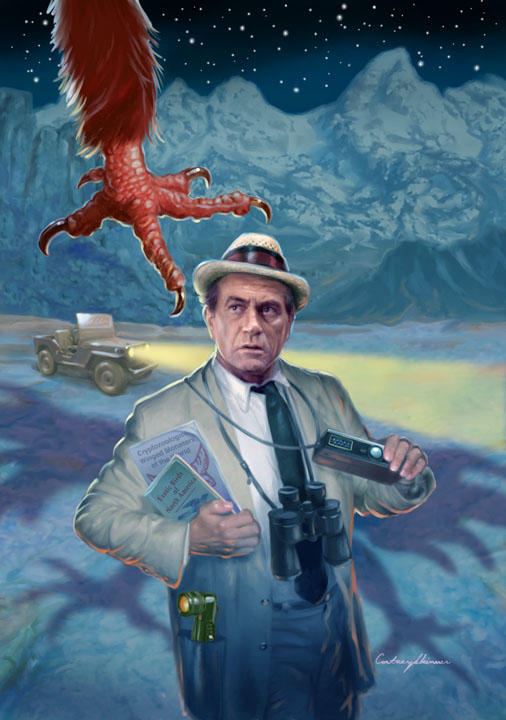 "Here's Kolchak again... for Moonstone Books ""Big Book of Kolchak the Night Stalker.""  with his trusty miniature Rollei-16 16mm camera, but this time at night. The publisher wanted Carl to be facing the menace in the evening, not in broad daylight as I had first painted him... oh well. so I completely redid all the elements, adding stars, headlight beams and light effects and altering the hues for nighttime."