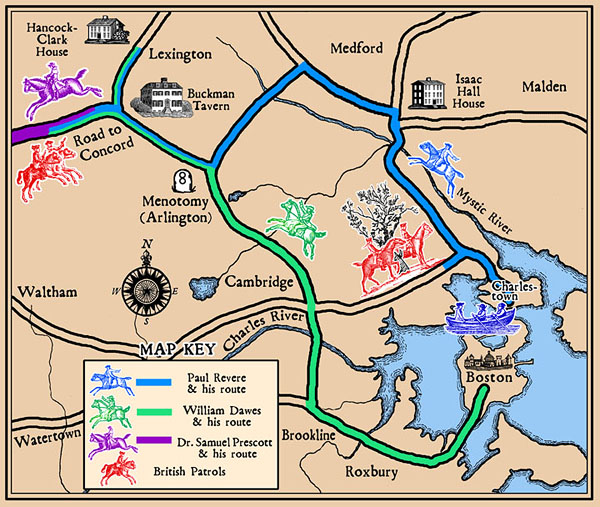 Commissioned by Paul Revere Memorial Association, this map shows the rides of Revere, Dawes and Prescott as well as the locations where they encountered the British Regulars. I used period graphics for the houses and people to bring to mind a little taste of the period. The interactive map can be seen at: