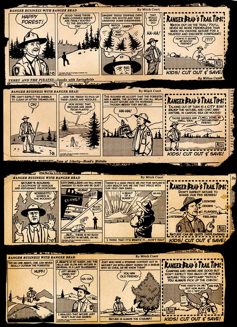 "For Sony Tristar's ""The Lost Skeleton of Cadavra"" written and directed by Larry Blamire, I created four vintage daily comic strip pages from the 1960s of the character ""Ranger Brad."" My approach was inspired by the strange and sometimes eccentric camping/nature/adventure strips of the early 20th century."