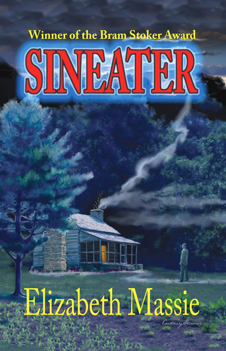 "This cover for Elizabeth Massie's ""Sineater"" had many elements I referenced from the local landscape. The cabin, scrubby garden, trees and mountains are all from the area around where I live."