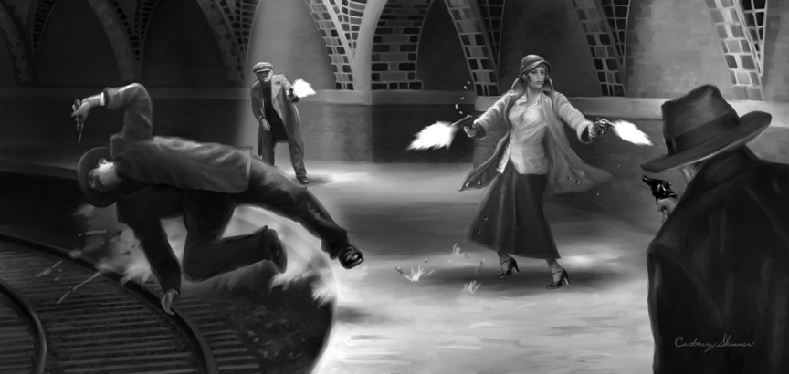 "From Moonstone Books, series, ""The Spider,"" the 1930s crime fighter, this story, ""The Chaos Maker,""  has a number of shootouts in some of  New York City's abandoned subway stations. In this one, Nita, the Spider's female associate, gives as good as she gets from a group of armed thugs."