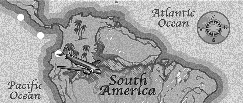"Created for the movie ""The Lost Skeleton Returns Again"" written and directed by Larry Blamire, this map was designed to resemble those 'traveling maps' used in old movies where a plane or boat would ""fly"" over the map for a quick movie transition to another locale. Ace animator Bill Bryn Russell animated my art in the movie to bring it to life."