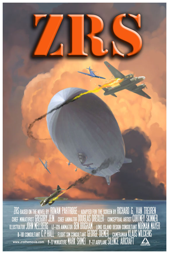 What if flying carrier rigid airships had been operating in the Pacific Theater during WWII? This poster is for a movie concept based on the book by Rowan Partridge. The plot posits an alternate history where the large rigid airship aircraft carriers that existed in the 1930s had continued to be developed and used as scouts in the Pacific in December 1941. How might history have been different?